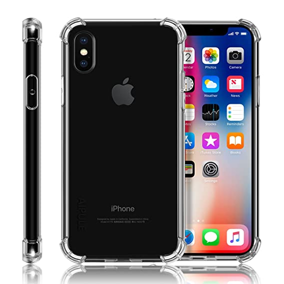buy popular 6e296 0c4d0 iPhone X Case, AIPULE Transparent Clear Protective Case with Shockproof TPU  bumper [Slim Fit] for Apple iPhone X (2017) (Crystal Clear)