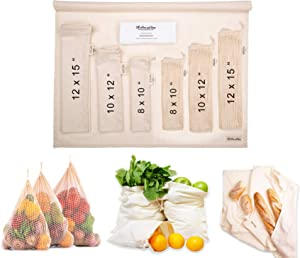 Cotton Produce Bags Reusable Produce Bags - Swag Produce Bags - Eco-Friendly Produce Bags - Produce Bags Grocery Reusable - Vegetable Bags - Cotton Bags for Bulk food Set (Set of 7 (3 Muslin 3Mesh 1Swaddle)