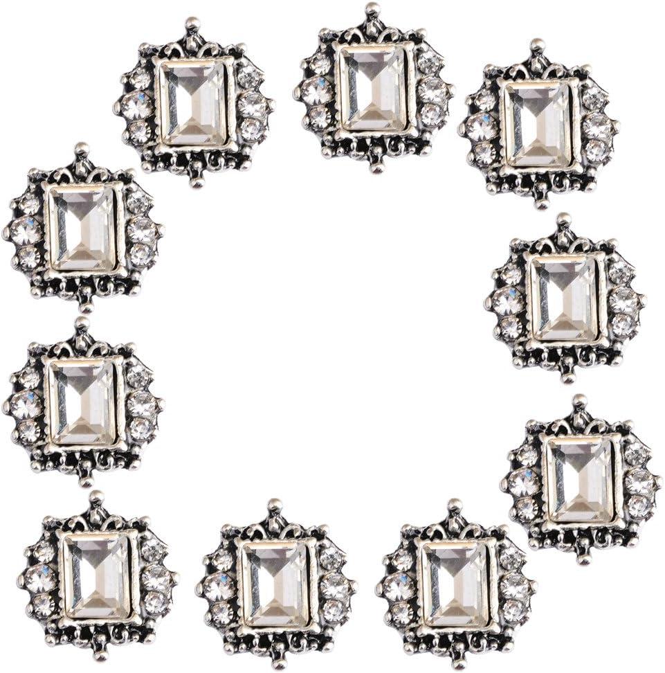 Bonarty 10pcs Square Crystal Rhinestone Embellishments Button Flatback Wedding Decor
