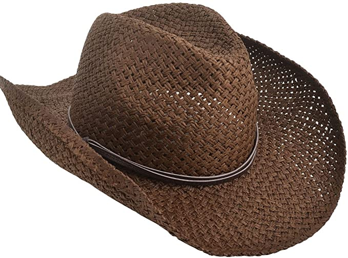 TAUT Unisex Woven Straw Cowboy Ranch Hat with Shapeable Brim Chocolate