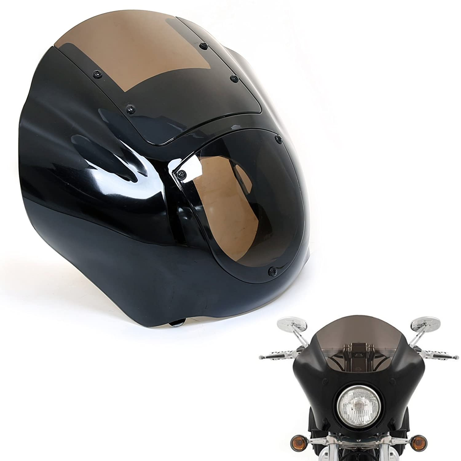 ECOTRIC Smoked Quarter Fairing Windshield For Harley 88 Up Sportster XL 95-05 Dyna 86-94 FXR