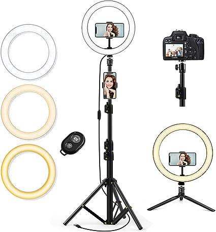 Lampop Selfie Ring Light with Tripod Stand /& 3 Flexible Phone Holders Remote Control LED USB for Live Stream TikTok Desk Camera Flash Light Vlog YouTube Video 3 Light Modes /&10 Brightness Makeup
