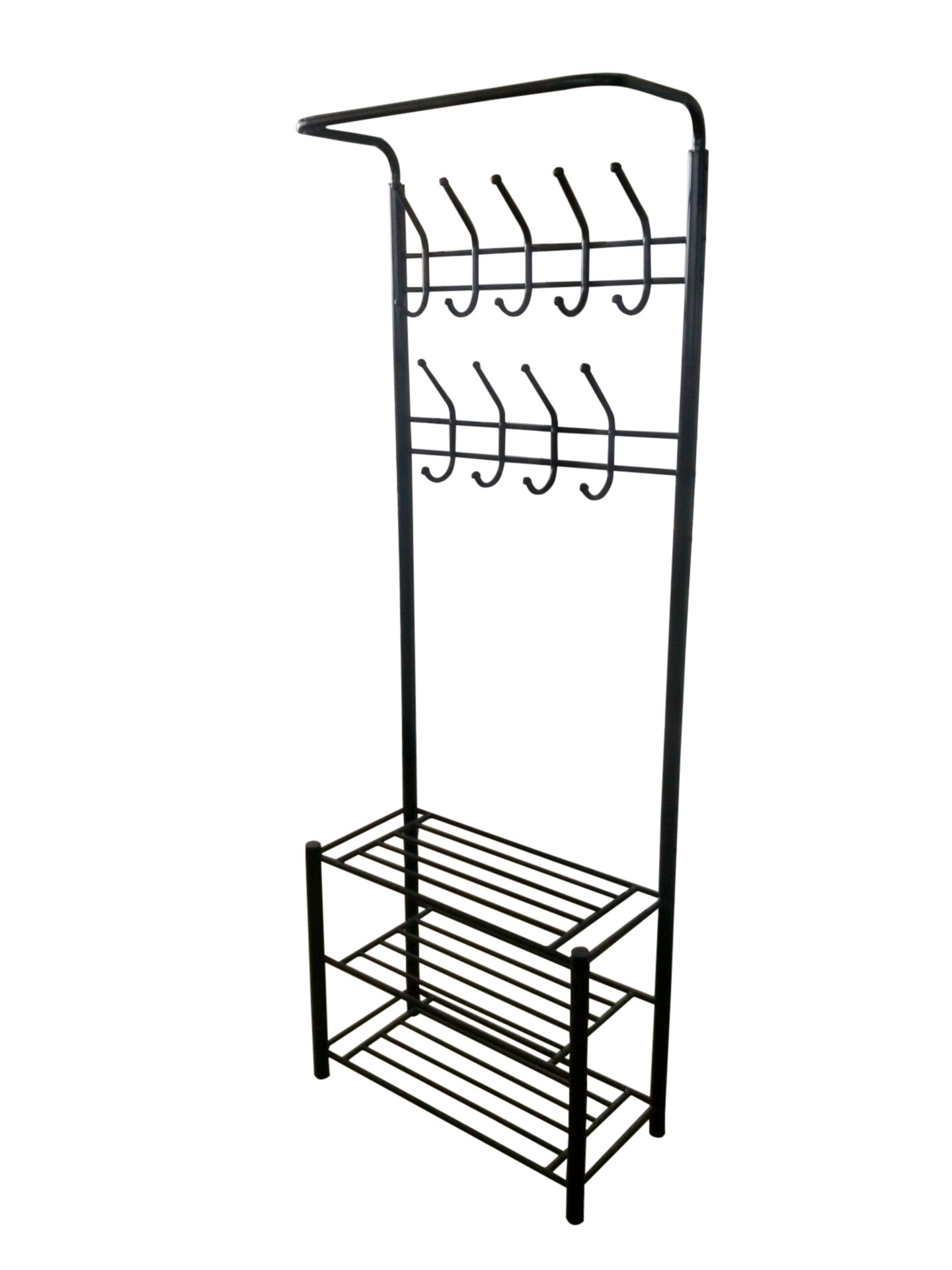 Black Metal Entryway Storage 3-tier Shoe with Coat Hat Rack 18 Hooks by eHomeProducts