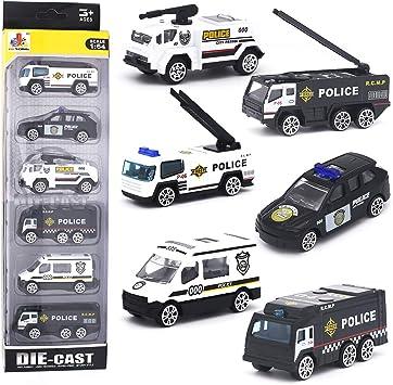 Amazon.com: Juego de mini coches de policía de aleación de ...