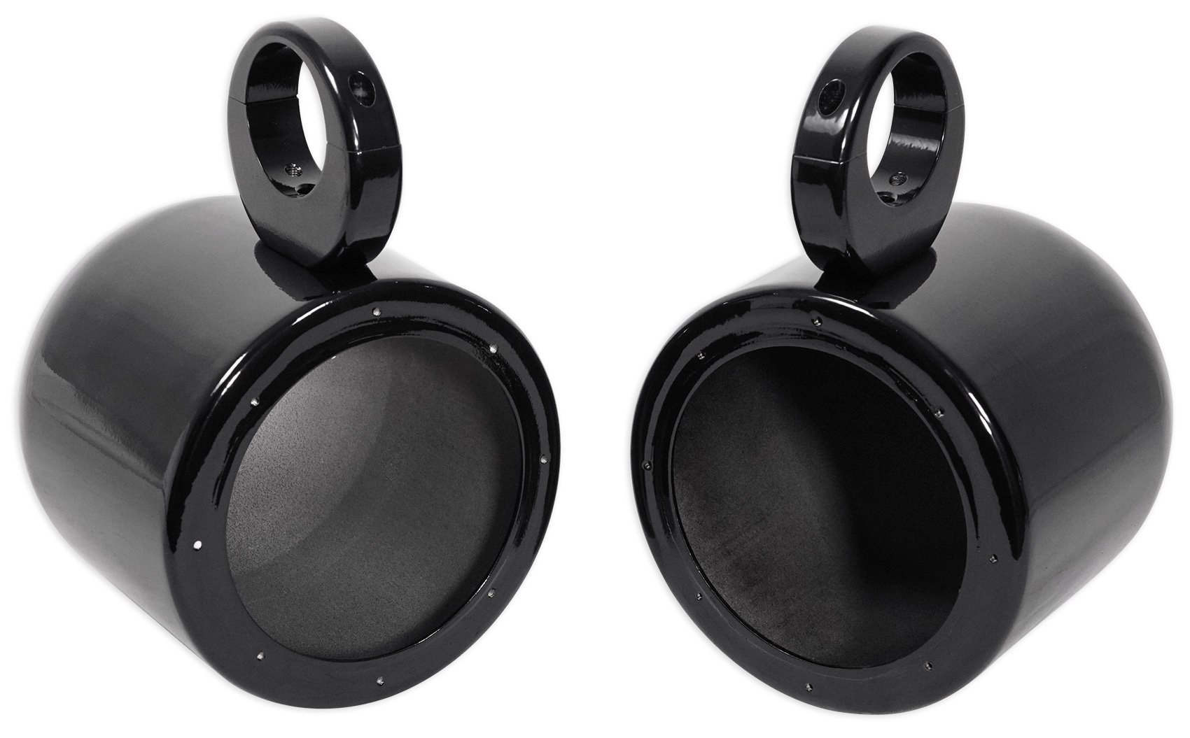Pair Rockville MAC65B 6.5'' Aluminum Wakeboard Tower Speaker Pod Enclosures, Black
