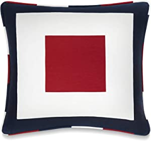 Tommy Hilfiger Sailing Decorative Pillow, 18x18 inch, Red/White