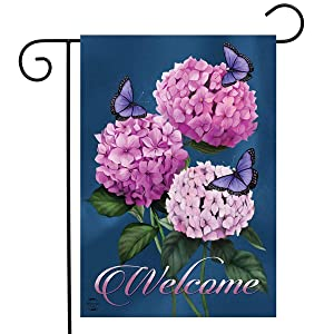 "Butterflies and Hydrangeas Spring Garden Flag Welcome Floral 12.5"" x 18"""