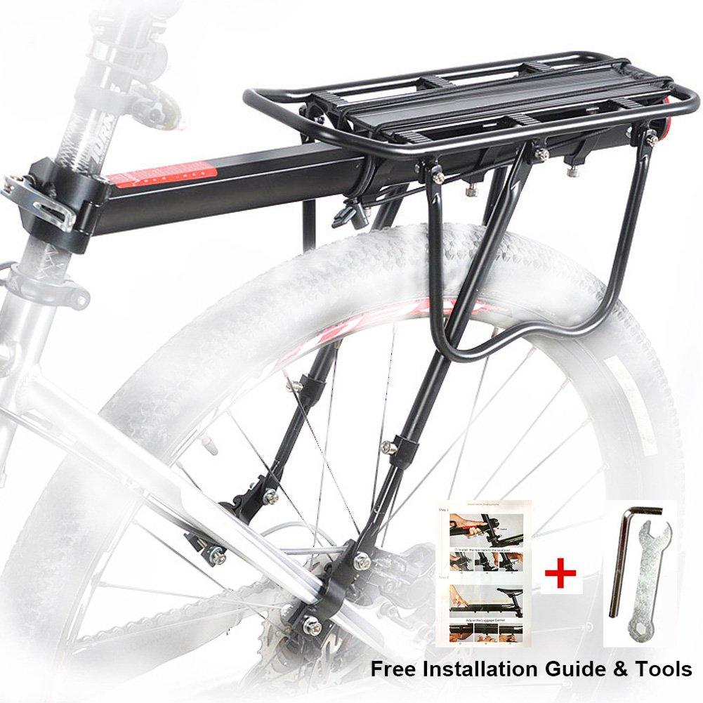 Bicicleta Trasera Rack, Bicicleta Equipaje Rack Aluminio Ciclismo Asiento Post Rack Mountain Bike MTB Equipaje Rack de Carga con Reflector ProRuck