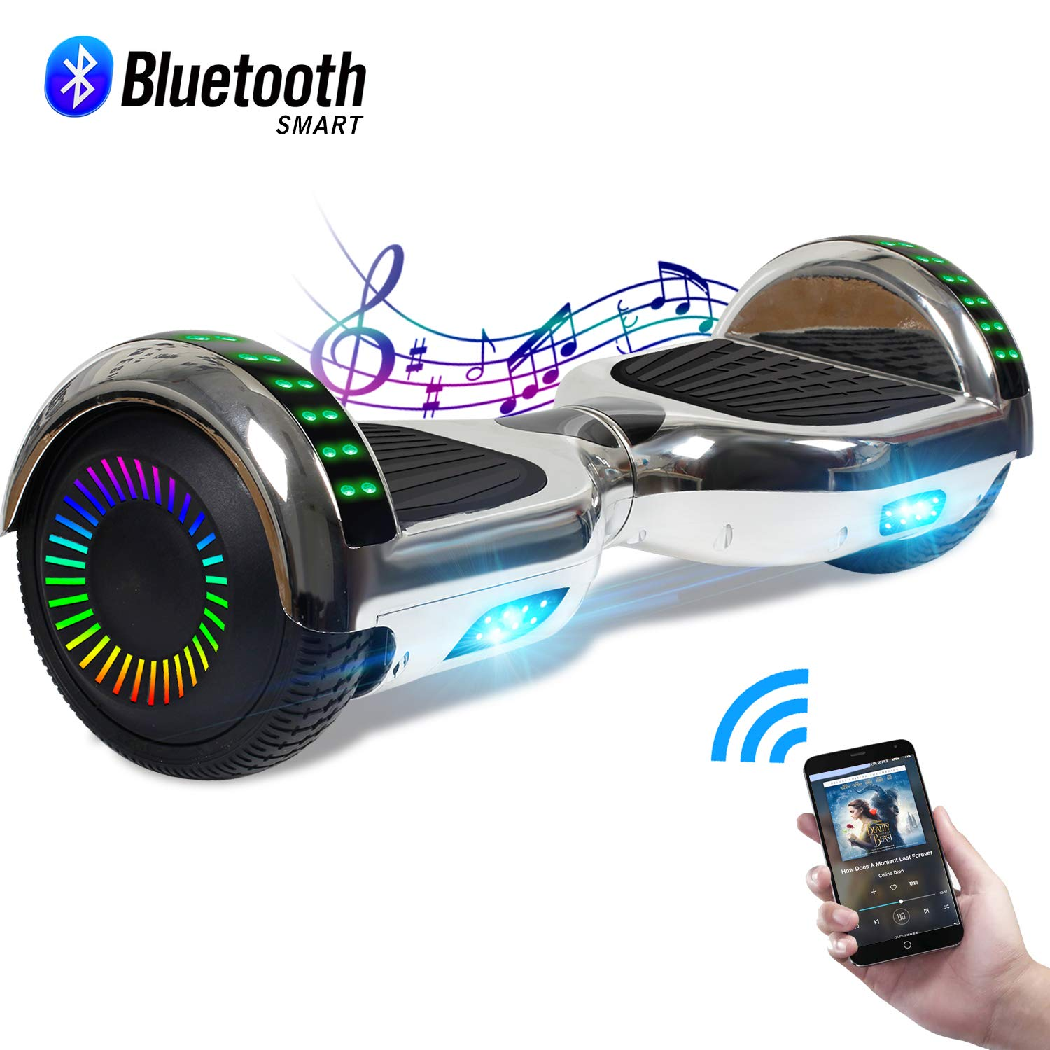 CBD Chrome Hoverboard for Kids, 6.5 Bluetooth Self Balancing Hoverboard, Hoverboard with Bluetooth and LED Lights, UL 2272 Certified Hover Board