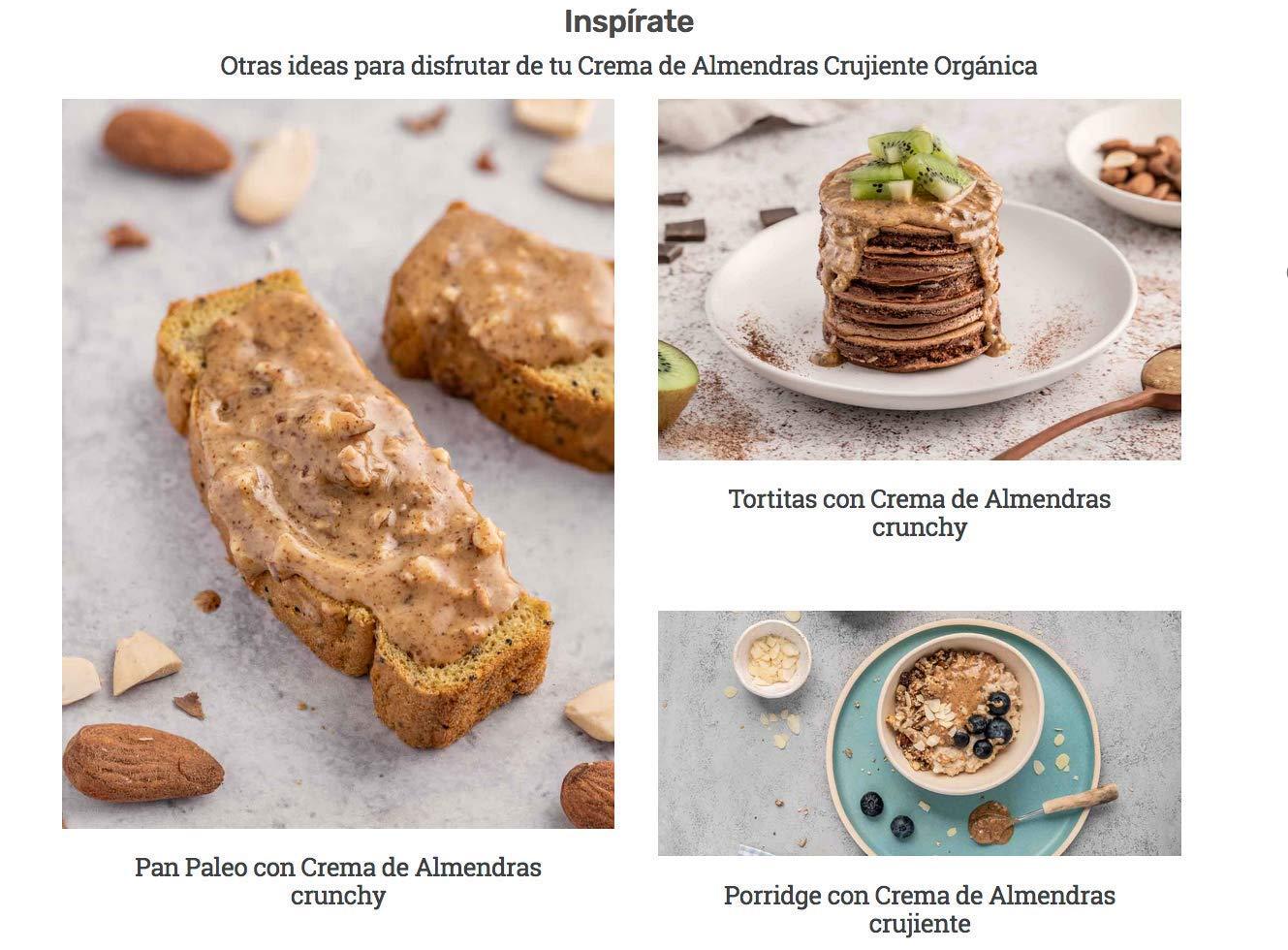 Crema de Almendras crunchy BIO -Natural Athlete- 100% solo Almendras - 100% natural y orgánico- sin azúcar añadido - sin gluten - sin lactosa y sin ...