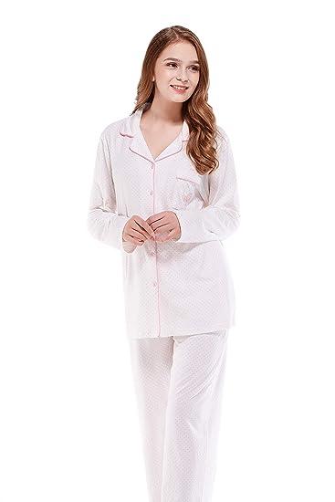 Keyocean Pajamas Set for Women 100% Cotton Long Sleeves Full Length Pants  Sleepwear PJ Set 0acfb64f5