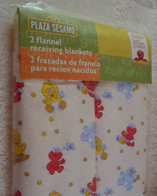 Amazon.com: Sesame Beginnings 2-Pack Flannel Receiving Blankets: Baby