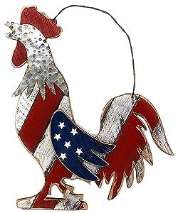 """Large Rooster Patriotic American Farmhouse Country Door Wreath Kitchen Garden Indoor Outdoor Decor 15"""" x 12"""""""
