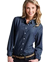 Charles River Women's Straight Collar Chambray Shirt Indigo Blue 3XL