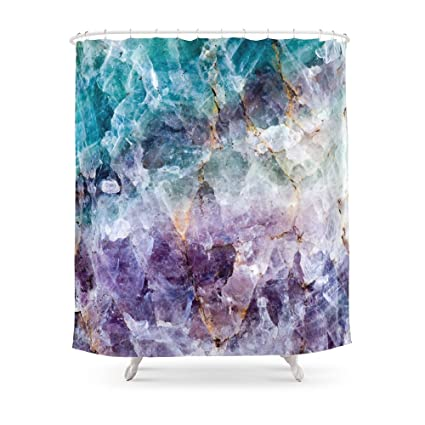 Society6 Turquoise Purple Quartz Crystal Shower Curtain 71quot