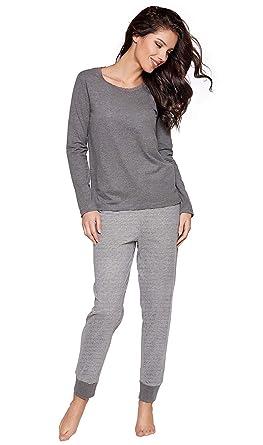 d0cab69f9ca917 Moonline moderner und bequemer Damen Pyjama, mit weicher Baumwolle,  grau-Bündchenhose, Gr