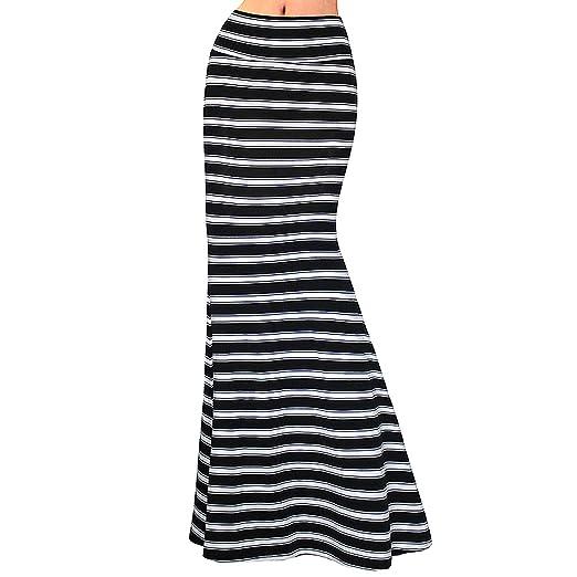 64979e0457 Editha Women Floral Print Maxi Long Skirt High Elastic Waist Slim Full Skirt  Summer Foldover Skirts