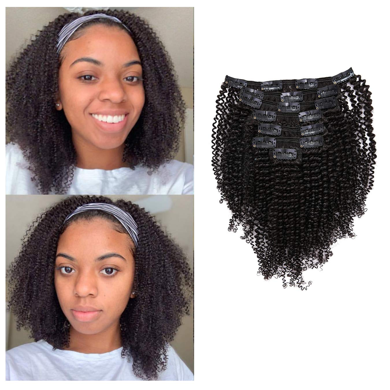 Anrosa Afro Coily Clip in Human Hair 1B Natural Black Afro Kinkys Curly Clip in Hair Extensions for Black Women 4A 4C Type Real Remy Hair Thick 120 Gram 10 Inch by Anrosa