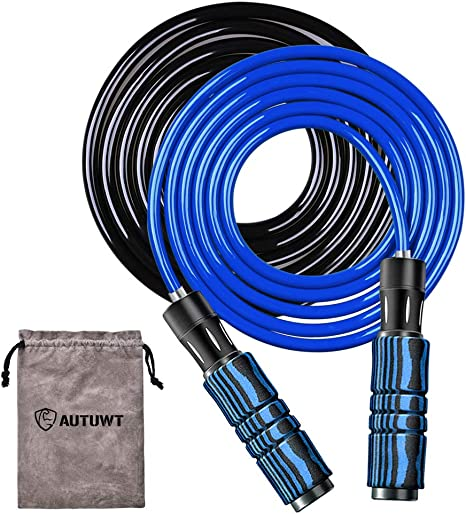 Weighted Skipping Rope Set 6mm Rope 1 2 Lb Plus 9mm Rope 1 Lb Adjustable Jump Rope Foam Wraps Around Aluminum Handles For Cardio Boxing And Mma Endurance Training Fitness Workouts Amazon Co Uk Sports Outdoors