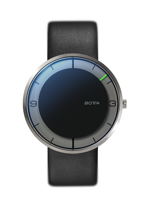 Botta-Design NOVA titan Armbanduhr - Einzeigeruhr - Titan - schwarzes Zifferblatt - Lederband