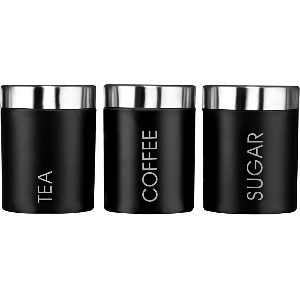 Premier Housewares Black Tea, Coffee & Sugar Canisters