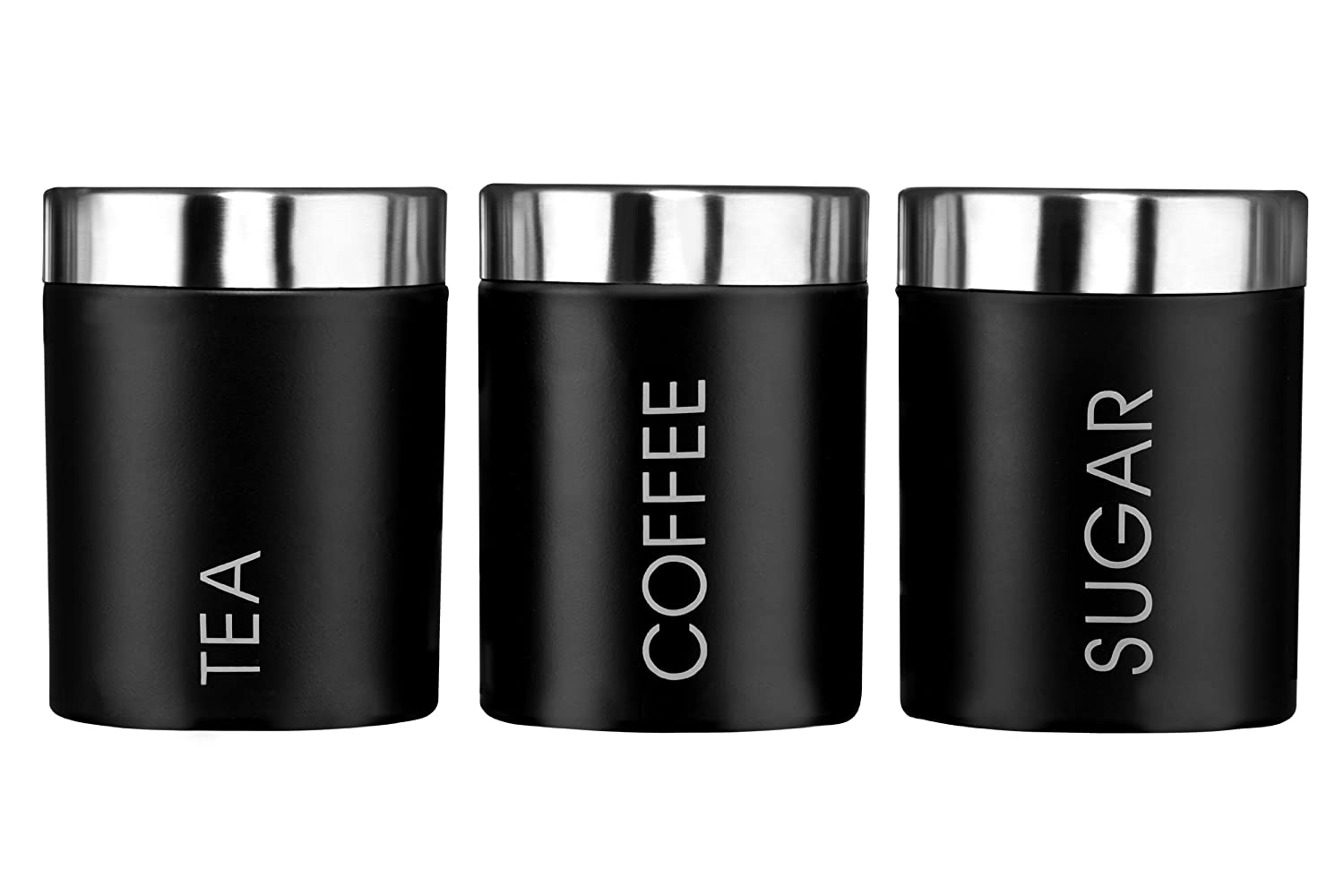 Premier housewares liberty tea coffee and sugar canisters set of 3 black amazon co uk kitchen home