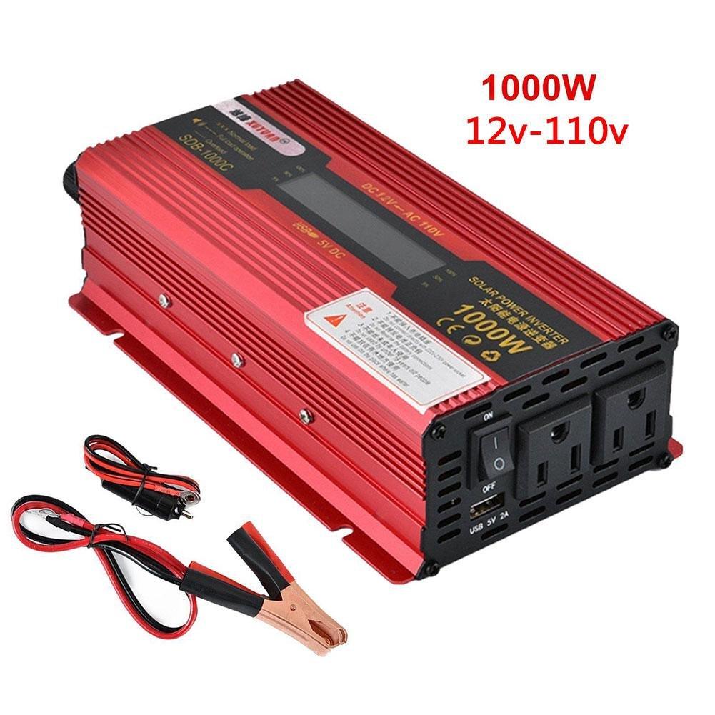 Eachbid Portable 1000W WATT Car LCD Power Inverter DC 12V to AC 110V Charger Converter