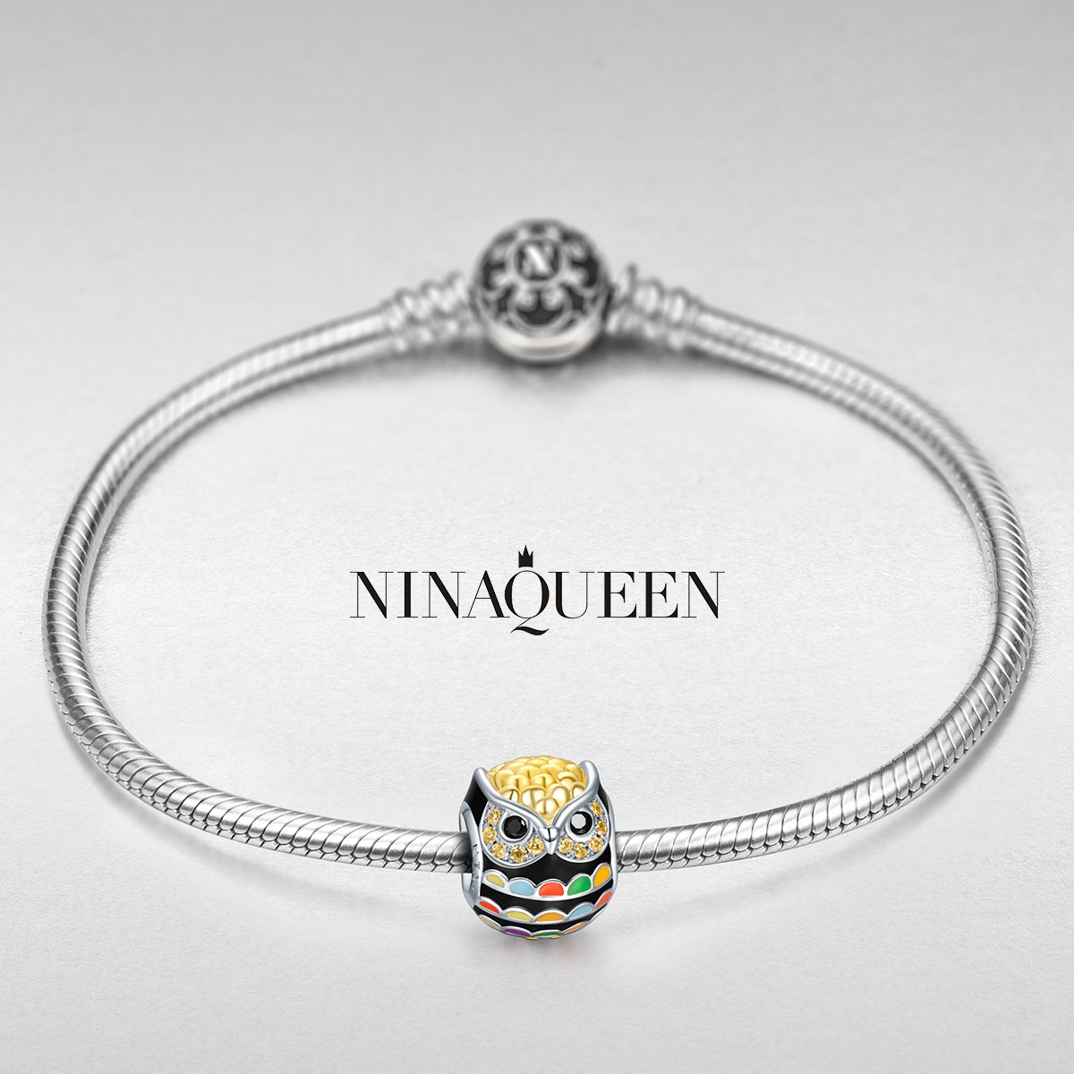 NinaQueen 925 Sterling Silver Owl Animal Bead Gold Plated Multicolor Enamel Charms for Pandöra Bracelets Birthday Anniversary Christmas Jewelry Gifts for Teen Girls Kids Sisters Daughter Girlfriend by NINAQUEEN (Image #2)