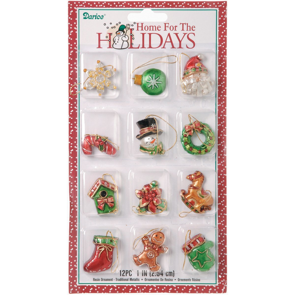 Darice 2463-52 Mini Resin Ornaments 1-1.5 12/Pkg