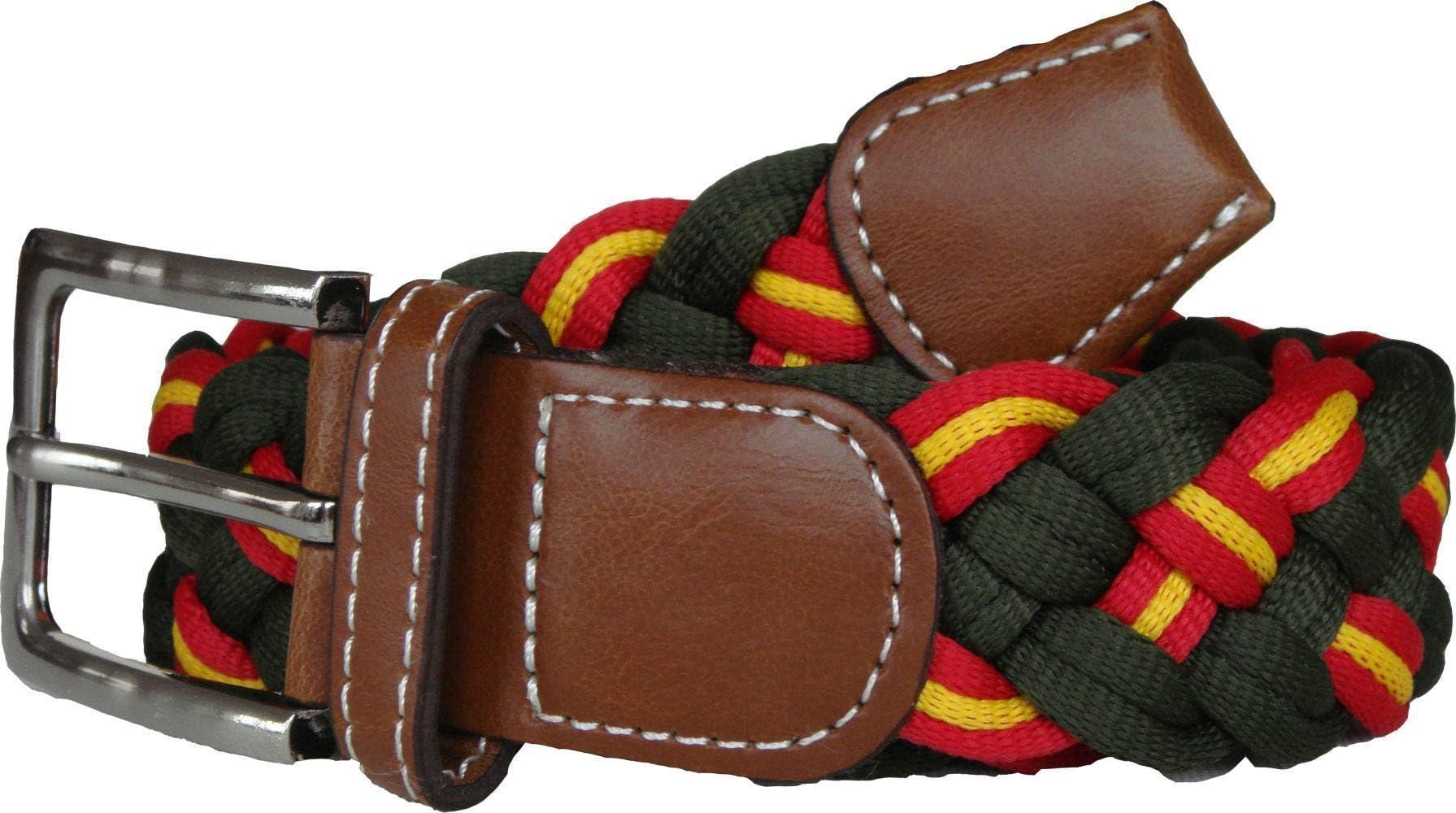 Pi2010 Cinturón verde trenzado con bandera de España 110cm: Amazon ...