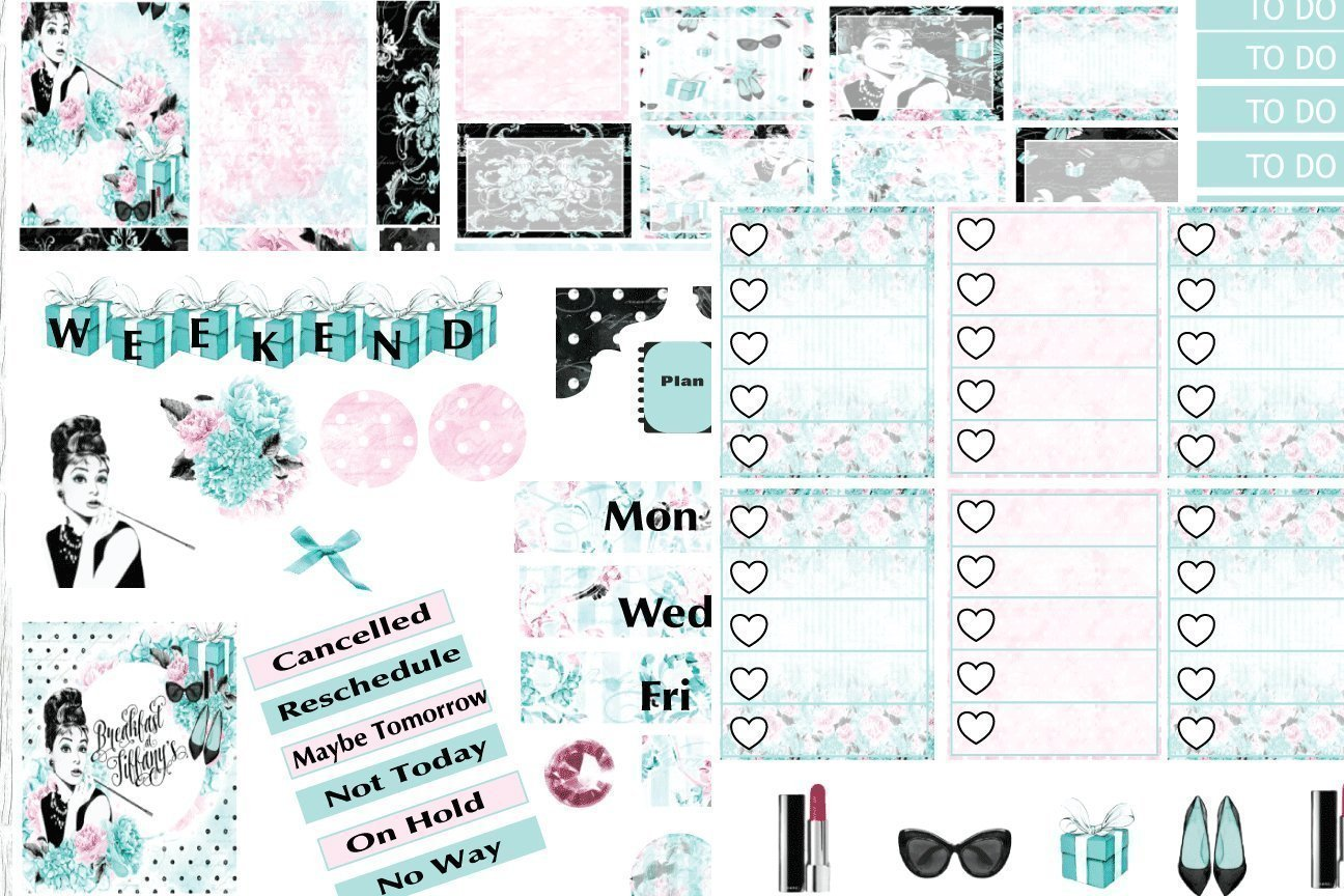 Breakfast at Tiffany's, 6 page planner sticker kit on matte sticker paper. Choose your planner size from Erin Condren to Happy Planner.