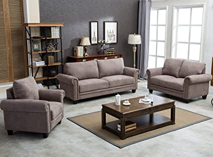 Amazoncom Harperbright Designs Fabric Living Room Sofa Set