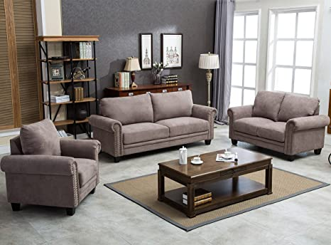 Harper&Bright Designs Sectional Sofa Brown Living Room Sofa Sets Collection  Taupe with Curled Handrails and Nail Head Trim Upholstered Couch ...