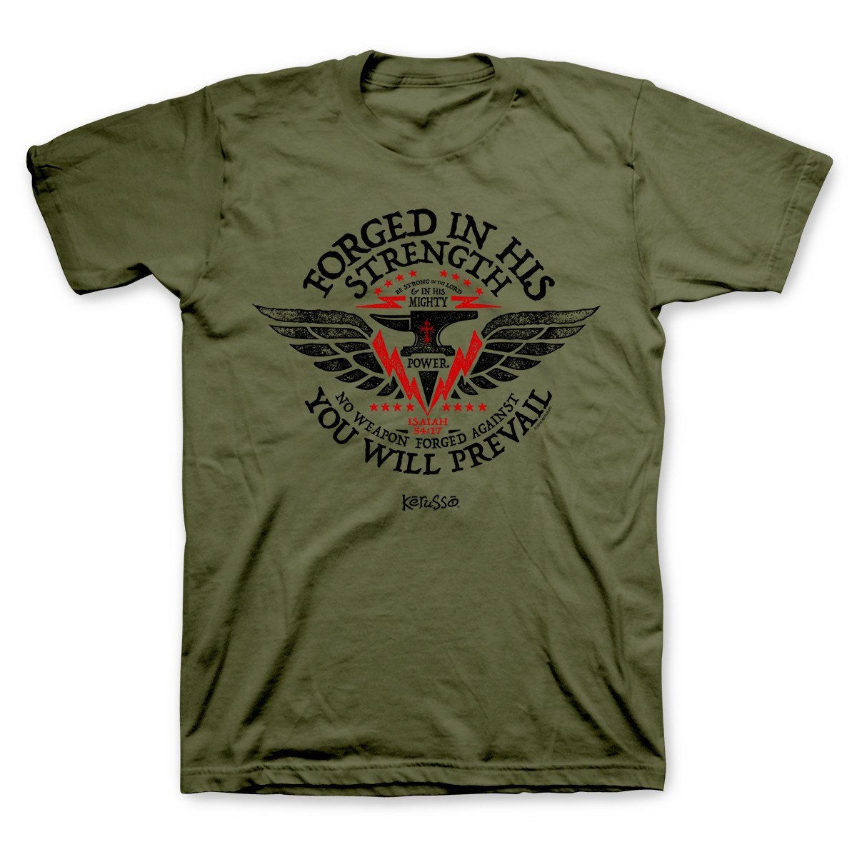 Forged in His Strength, Tee, 3X, Olive - Christian Fashion Gifts
