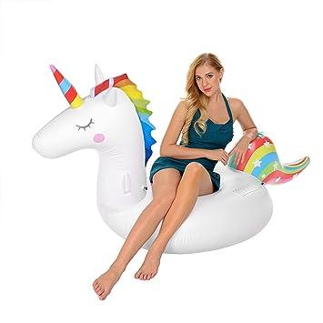 Ynredee Flotadores de Piscina, flotadores de Piscina de Unicornio inflables para Adultos y niños,