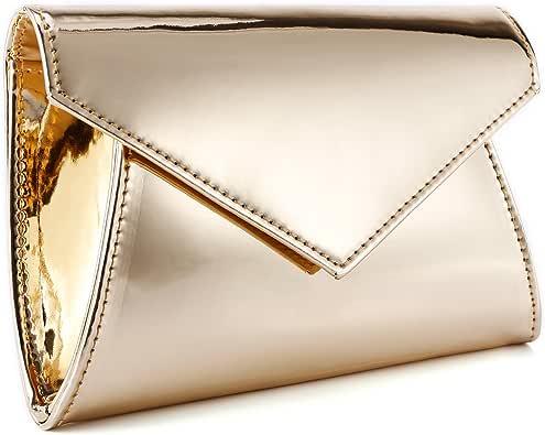 Fraulein38 Shimmery Metallic PU Leather Sparkling Flap Prom Clutch Purse Women Shoulder Bag