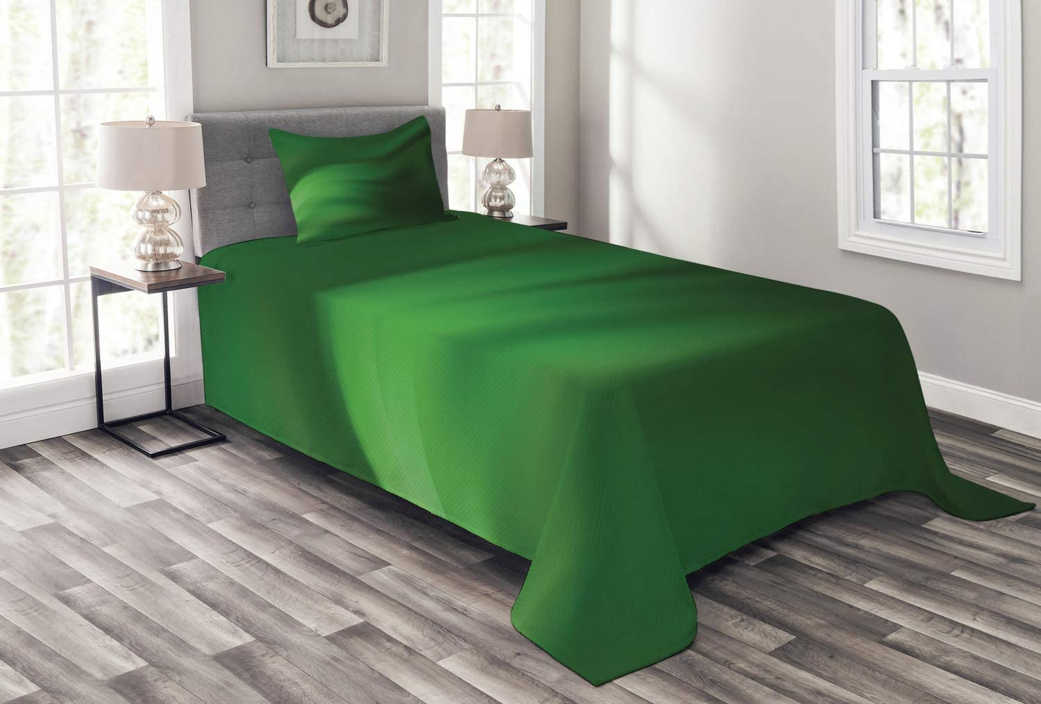 Ambesonne Forest Green Bedspread, Abstract Pattern with Color Wave in Green Shades Ombre Effect, Decorative Quilted 2 Piece Coverlet Set with Pillow Sham, Twin Size, Forest Green