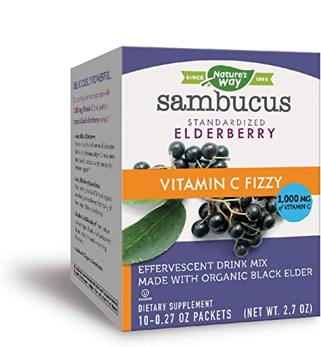 Nature s Way Sambucus Fizzy Made with Organic Black Elderberry Extract 1,000 mg Vitamin C, Boost Your Immune System Berry Flavored Effervescent, 10 Packets