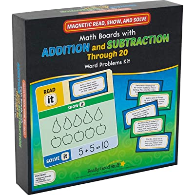 Magnetic Read, Show, and Solve Math Boards with Addition and Subtraction Through 20 Word Problems Kit: Toys & Games