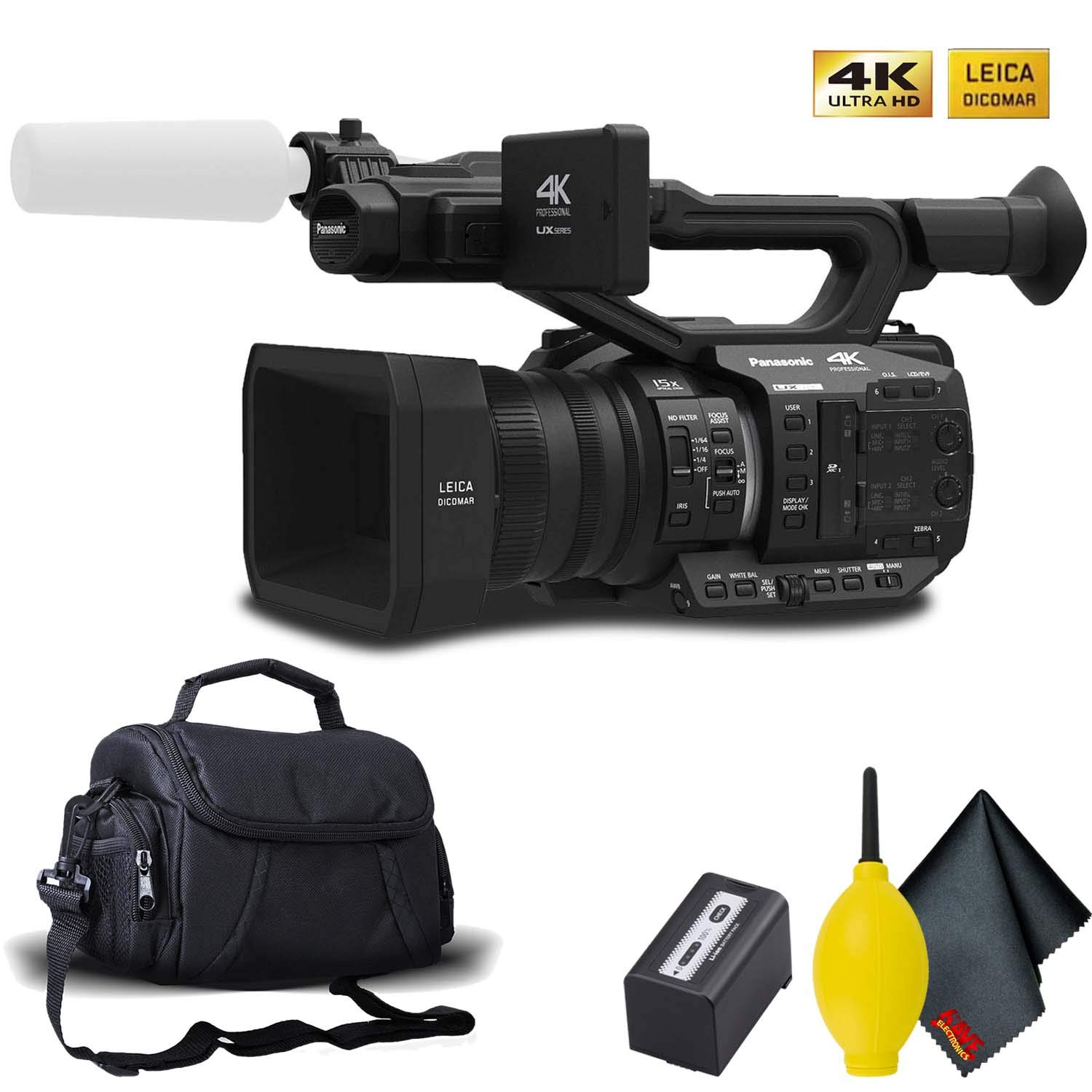 Panasonic AG-UX90 4K/HD Professional Camcorder with Carrying Case and Cleaning Kit by Panasonic