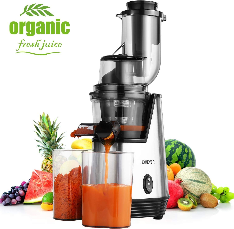 Homever Licuadora prensado frio, extractor de zumo licuadoras para verduras y frutas boca ancha extractor de jugo con motor silencioso función inversa