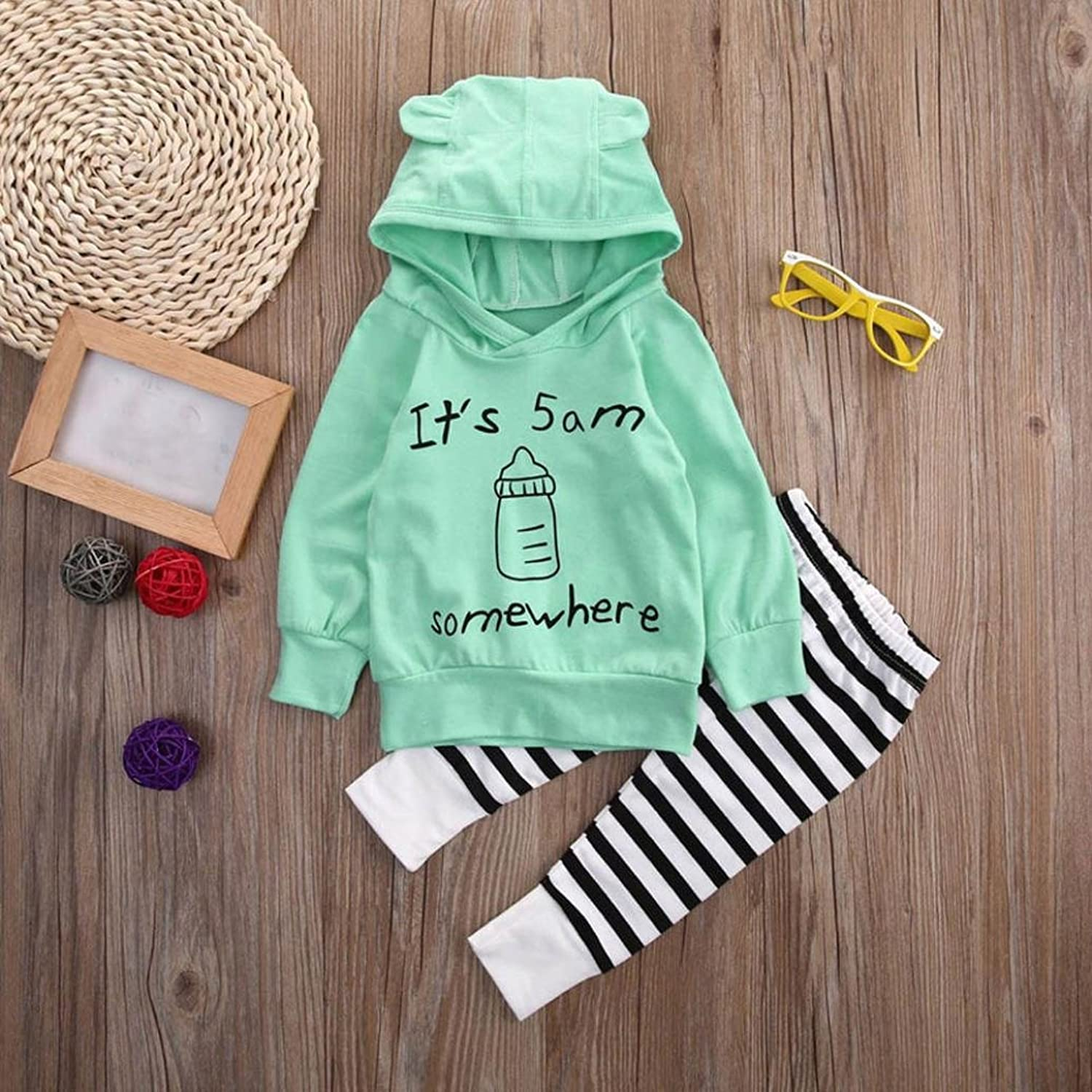 Amazon.com: LNGRY Infant Baby Boys Girls Sweatshirt Top+Striped Long Pants Outfits Clothes: Clothing