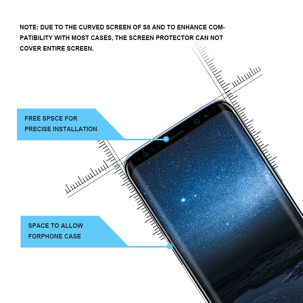 OTAO Galaxy S8 Tempered Glass Screen Protector [Update Version], Easy Installation [Case-friendly] Samsung S8 Tempered Glass Screen Protector with Installation Tray For Galaxy S8 by OTAO (Image #2)