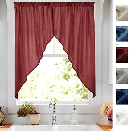 Delicieux Swag Curtains For Kitchen 63 Inch Semi Sheer Home Decor Solid Color Casual  Weave Textured