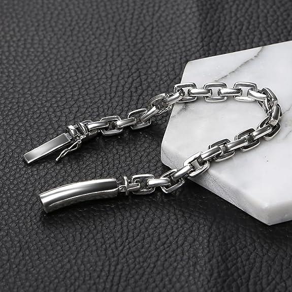 a10e839250c1 Aeici Pulsera para Hombres Diseño Unico Brazalete Pulsera de Cadena de Acera  17Cm  Amazon.es  Joyería