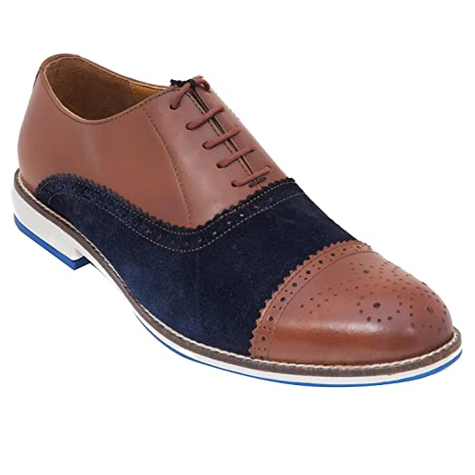 Handmade Casual Brogue Shoe In Real Calf Leather & Suede Leather (Lace ups) For Men In Tan Navy Colour