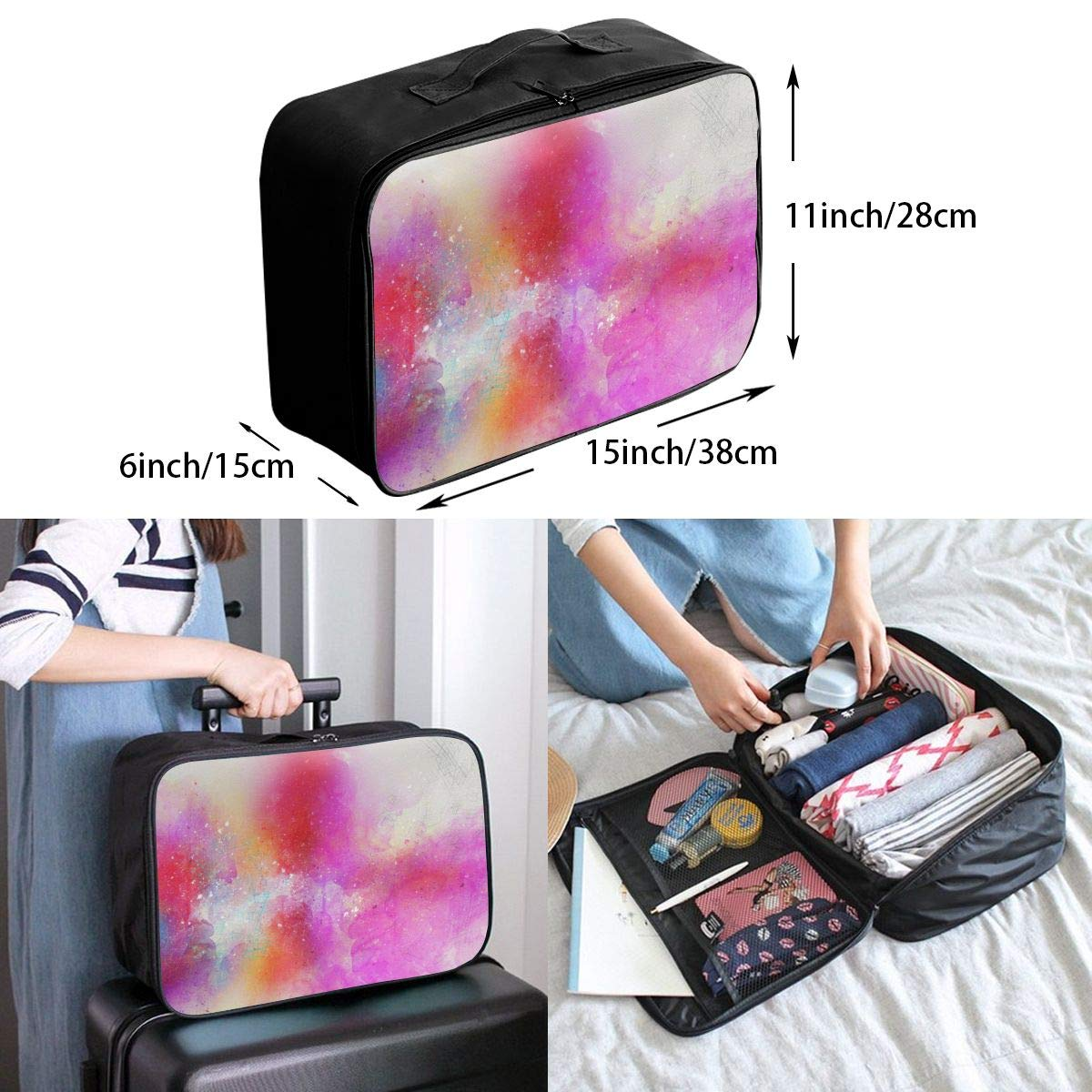 Art Abstract Watercolor Travel Lightweight Waterproof Foldable Storage Carry Luggage Large Capacity Portable Luggage Bag Duffel Bag