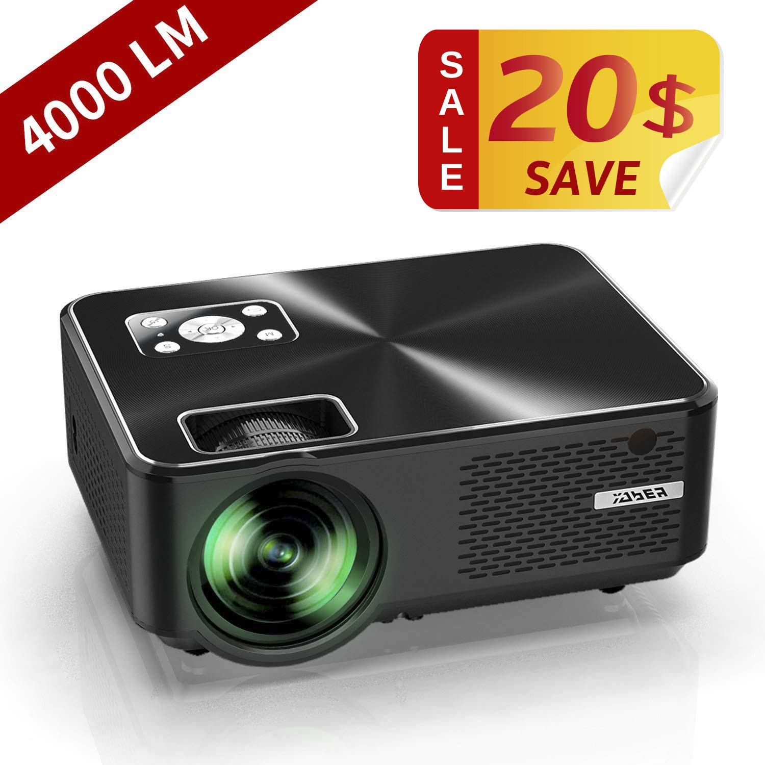 Mini Projector, YABER Portable Projector with 4000 Lumen Full HD 1080P 200'' Display Supported, LCD LED Home & Outdoor Projector Compatible Fire TV Stick, Smartphone, HDMI,VGA,AV and USB