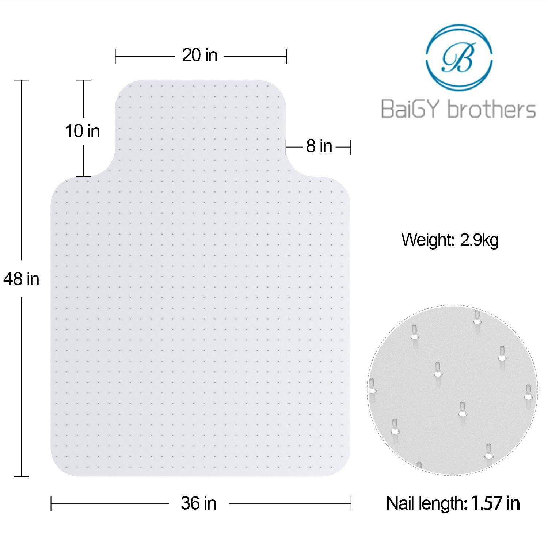 Desk Chair Mat for Carpet - Vinyl Floor Protector for Low-Pile Carpets,Non-Slip Bottom | Home, Office, Computer by kuss Online (Image #2)