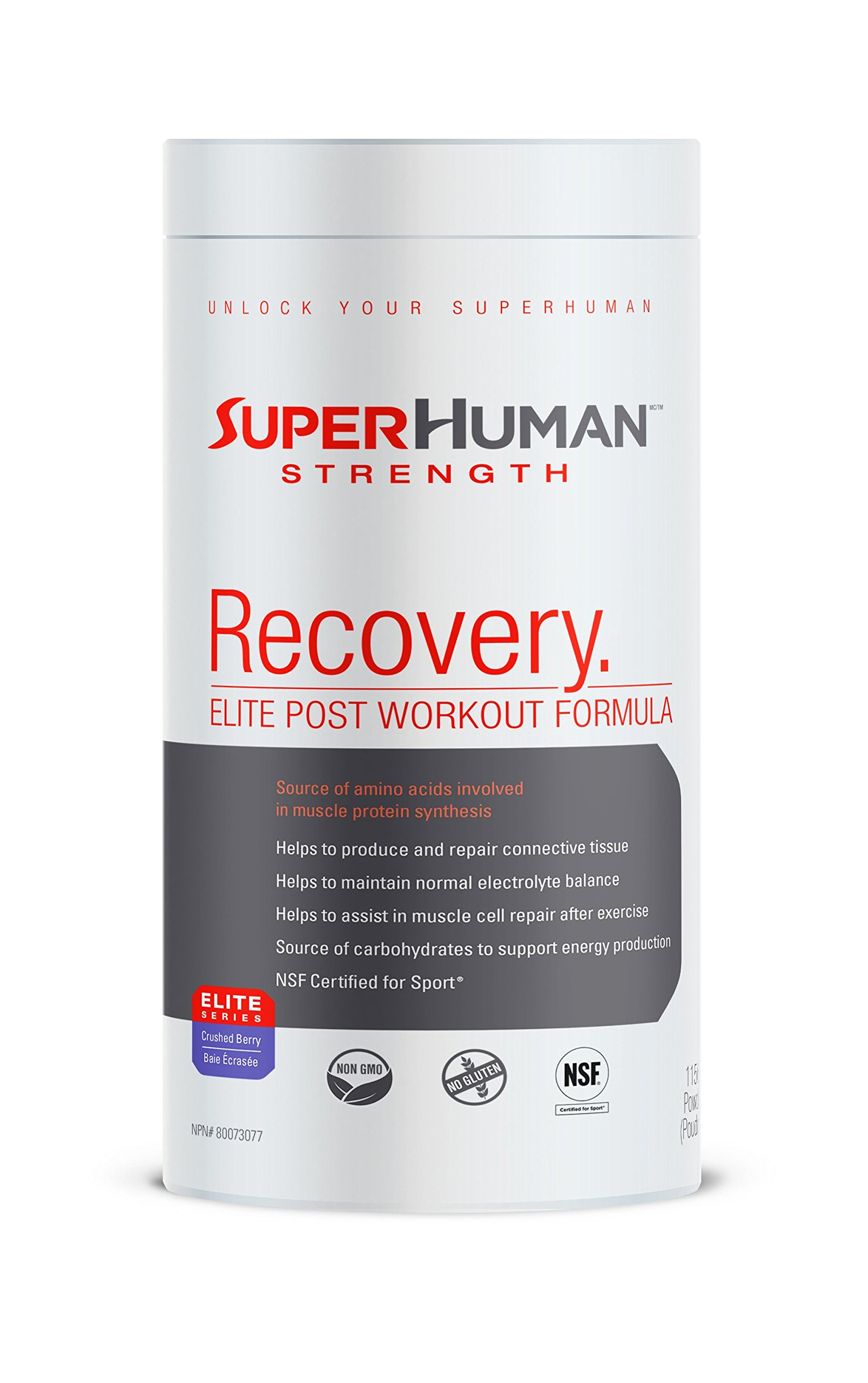 SuperHuman Strength Recovery Post Workout Powder - Gluten Free NSF Certified Berry Flavor Supplement, 2.55 lbs